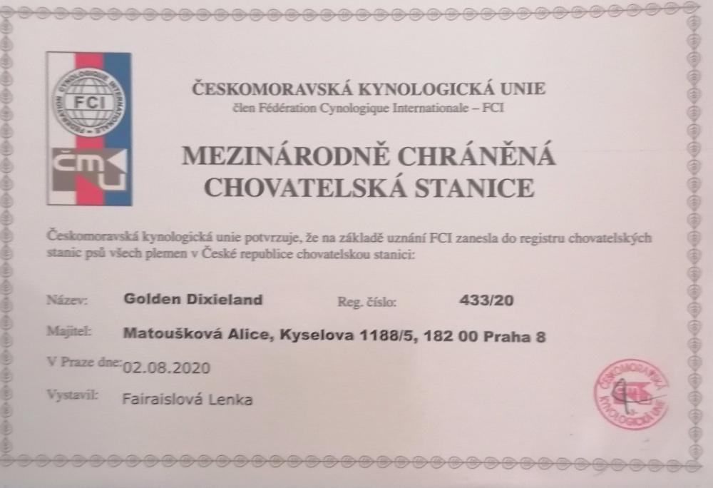 Certifikát chovatelské stanice